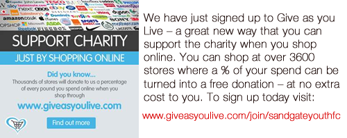We have just signed up to Give as you Live – a great new way that you can support the charity when you shop online. You can shop at over 3600 stores where a % of your spend can be turned into a free donation – at no extra cost to you. To sign up today visit: www.giveasyoulive.com/join/sandgateyouthfc
